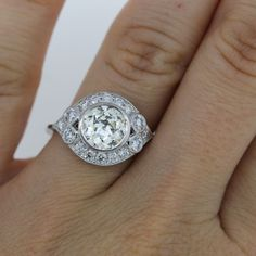 Vintage Style 1.52ct Old European Cut Diamond Engagement Ring