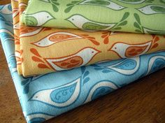 Birdsong Organic Canvas in Celery Fat Quarter by betzwhite
