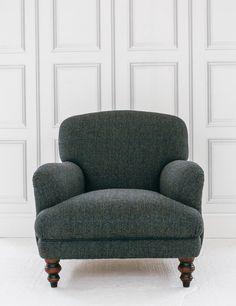 Manor Harris Tweed Chair in Granite at Rose and Grey