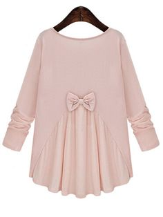 Pink Round Neck Long Sleeve Bow Loose Blouse, 100% Quality Guarantee