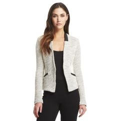 Tweed Jacket with Faux-Leather T - Jackets - Kenneth Cole