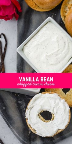This vanilla bean whipped cream cheese is perfect on a bagel, english muffin, or your morning toast! And it's so easy to make! Flavored Cream Cheeses, Cream Cheese Dips, Flavored Butter, Cream Cheese Spreads, Whipped Cream Cheese, Cream Cheese Recipes, Butter Recipe, Vanilla Flavoring, Bagel Dip
