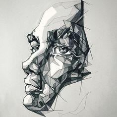 SHARP #illustration #drawing #umityanilmaz #man #face #sharp #future #dramatic #light #dark #shadow #geometric