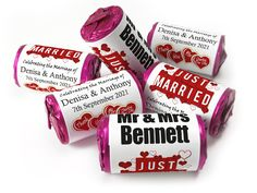 Wedding Favours - Love Heart Sweets with Original Pink Foils - Wedding Favours Love Hearts, Wedding Favour Sweets, Wedding Party Favors, Mint Sweets, Personalised Love Hearts, Love Heart Sweets, One Design, Just Married, Marry You