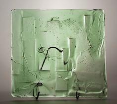Lubomir Blecha, the glass relief, 1969, glassworks Borske Sklo, Novy Bor (Haida), M: 41,0 x 42,0 cm, Czechoslovakia