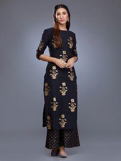 Buy Black Chanderi Foil Printed Kurta online at Theloom