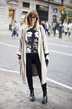 Layering printed sweater with light colored coat. Fall Outfit Inspiration
