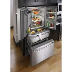 KitchenAid ft French Door Refrigerator with Ice Maker (Stainless Steel) at Lowe's. This uniquely versatile, platinum interior refrigerator offers 5 doors, including 2 soft-close drawers, to deliver optimized storage. This refrigerator Kitchen Pantry, New Kitchen, Kitchen Storage, Kitchen Decor, Kitchen Cabinets, Kitchen Appliances, Kitchen Ideas, Awesome Kitchen, Kitchen Countertops