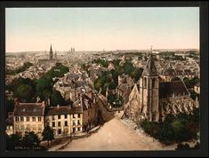 Photographic Print: View of Caen with the Abbey Saint Etienne in the Background, : Saint Etienne, Tours France, French Photographers, Grand Tour, Historical Photos, Paris Skyline, Vibrant Colors, Travel, Photographs