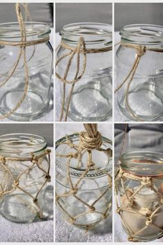 DIY: macrame summer decoration / mason jar with fishing net as lantern or vase, # Check more . - macrame - DIY: macrame summer decoration / mason jar with fishing net as lantern or vase - Pot Mason Diy, Mason Jar Crafts, Bottle Crafts, Ideias Diy, Diy Blog, Diy Décoration, Sell Diy, Easy Diy, Diy Home Decor Projects