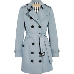 Burberry London The Sandringham cotton-gabardine trench coat ($1,680) ❤ liked on Polyvore featuring outerwear, coats, jackets, trench coat, blue, burberry, burberry trenchcoat, waterproof trench coat, gabardine coat and double breasted coat