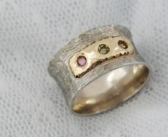 Sterling silver and gold tricolor tourmaline ring by MayaOr, $195.00