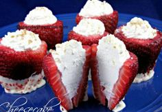 Cheese cake filled strawberries