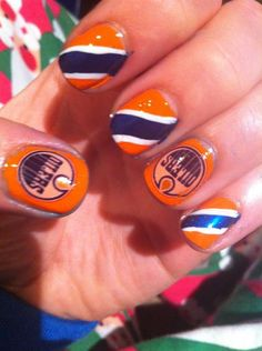 """""""I did Oilers nails for their home opener! - Tara Nosaurus Rex"""" Love this! """"I did Oilers nails for their home opener! Pedicure Nail Art, Mani Pedi, Manicure, Hockey Nails, Acrylic Nails, Gel Nails, Tough As Nails, Edmonton Oilers, Nail Trends"""