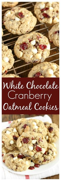 Soft and chewy oatmeal cookies packed with white chocolate chips and dried cranberries.
