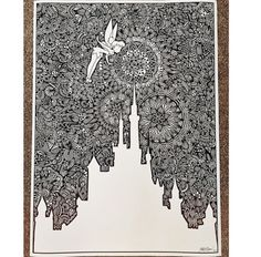 finally after days of work, this disney castle custom order is finished and I could not be happier! (at closer look -. Sharpie Drawings, Sharpie Art, Art Drawings, Doodle Patterns, Zentangle Patterns, Zentangles, Mandalas Drawing, Mandala Art, Arte Disney