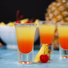 With colorful layers of vanilla vodka, pineapple juice, and cherry grenadine, this pineapple upside-down cake shot takes the cake.