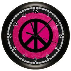 PINK PEACE SIGN WALL CLOCK BLACK GIRLS BEDROOM ROOM ART DECOR MATHES BEDDING