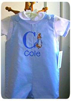 Boys Pique Shortall Peter Rabbit Initial and Name by GumdropGrove