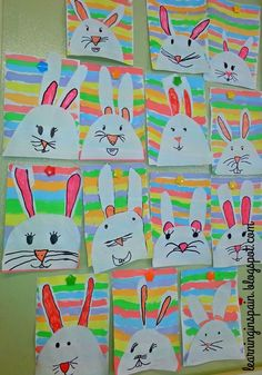 Easter bunnies and addition rainbows – Learning in Spain - Spring Crafts For Kids Spring Art Projects, Easter Projects, Easter Crafts For Kids, Spring Crafts, Bunny Crafts, Easter Ideas, Arte Elemental, First Grade Art, First Grade Crafts