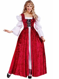 Womens Medieval Lady Lace Up Over Gown Costume | Cheap Plus Size Renaissance Costumes for Adults