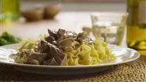 Strips of chuck roast simmered with green onions and mushrooms, then flavored with mustard and a good Rhine wine make a delicious beef stroganoff. Stroganoff Recipe, Beef Stroganoff, Mushroom Stroganoff, Mushroom Soup, How To Cook Mushrooms, How To Cook Eggs, Beef Recipes, Cooking Recipes, Beef Meals