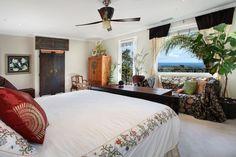 Asian Master Bedroom with flush light, Carpet, Ceiling fan, Crown molding