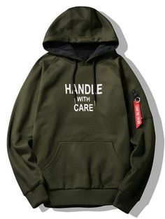 SHARE & Get it FREE | Flocking Handle With Care Graphic Hoodie - Army Green LFor Fashion Lovers only:80,000+ Items • New Arrivals Daily Join Zaful: Get YOUR $50 NOW!