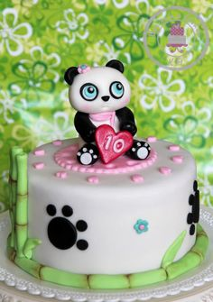 Small cake for Birthday of my friend´s daughter. She asked me for panda topper and the rest I have free hands. she loves scarfs, so I made one for her panda too :-) Panda Birthday Cake, Birthday Cake Girls, 10th Birthday, Pretty Cakes, Cute Cakes, Fondant Cakes, Cupcake Cakes, Bolo Panda, Ballet Cakes