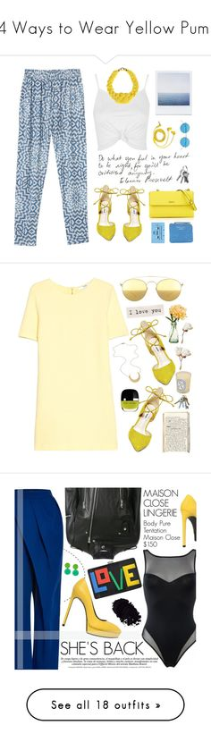 """""""14 Ways to Wear Yellow Pumps"""" by polyvore-editorial ❤ liked on Polyvore featuring YellowPumps, waystowear, Monki, Steve Madden, Topshop, DKNY, FOSSIL, Acne Studios, CASSETTE and Illesteva"""