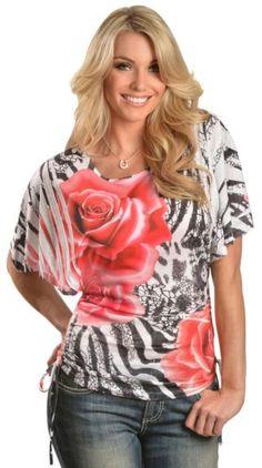 Panhandle Slim Rose Zebra Sublimation Print Kimono Top available at #Sheplers