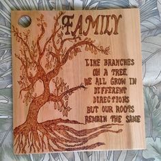 Family Branches Cutting Board, Roots Remain the Same, Family Cutting Board, Father of the Bride Gift, Decorative Cutting Board, Woodburn Art by SmolderingCreations on Etsy