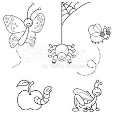 Cute bugs kawaii coloring set royalty-free stock vector art