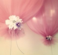 Inflate Ballon... Cover With Tulle... Tie Flower Around Bottom! Beautiful and Easy!!view more details