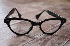 Vintage 1950's Art Craft Black Angular Cat Eye Glasses by pursuingandie, $62.50