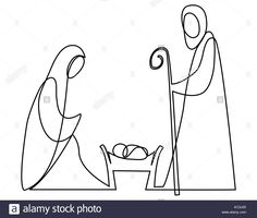 Nativity scene with Holy Family one line drawing Stock Vector Pallet Christmas Tree, Christmas Nativity Scene, Christmas Cards To Make, Christmas Crafts, Christmas Ornaments, Xmas, Wire Crafts, Rock Crafts, Simple Nativity
