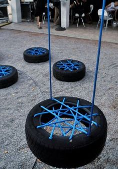 Diy Crafts - Unfortunately, old tires usually end up in the landfill. We believe that you wondered what to do with old tires. Diy Tire Swing, Tire Swings, Tire Playground, Tire Furniture, Recycled Furniture, Furniture Design, Automotive Furniture, Automotive Decor, Handmade Furniture
