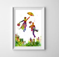 Mary Poppins and Bert Art - Watercolor Print, Broadway musical, Poster, Wall decor, Watercolor painting, Nursery wall art, Kids Room Decor