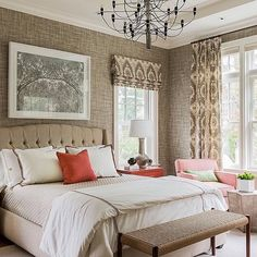 I'm a fan of wallpaper and I love how it adds so much warmth, texture, and character to this beautiful bedroom designed by Terrat Elms Interior Design