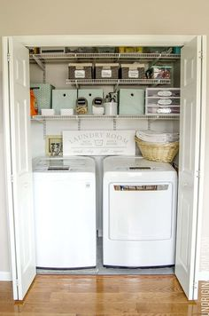 Multi-Purpose Laundry Closet Organization Solutions - Home Professional Decoration Laundry Closet Organization, Laundry Closet Makeover, Laundry Room Remodel, Laundry Room Cabinets, Laundry Room Organization, Laundry Storage, Diy Cabinets, Small Laundry Closet, Small Home Organization