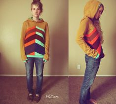 William Colorblock Hoodie in brown organic cotton with thumbholes