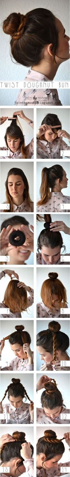 How To Make Twist Doughnut Bun For Your Hair - Hair Tutorials Step By Step Hairstyles, Braided Hairstyles Tutorials, Pretty Hairstyles, Easy Hairstyles, Hair Tutorials, Hairstyle Ideas, Wedding Hairstyles, Updo Hairstyle, Everyday Hairstyles