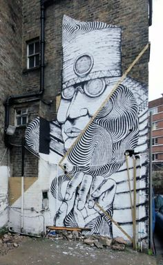 Street Art Collaboration by Italian Street Artists 2501 and RUN in East London, Shoreditch. 1