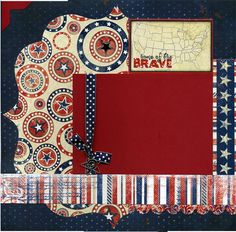 Home Of The Brave - Premade Patriotic Scrapbook Page Set