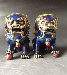 A-Pair-handwork-old-Cloisonne-painting-Copper-Statues-Lion-Foo-Dog