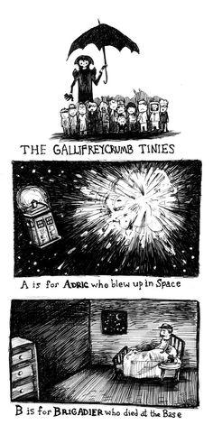 See 26 grisly Doctor Who deaths done Edward Gorey-style (http://eattoast.deviantart.com/art/The-Gallifreycrumb-Tinies-344523003 - EatToast on deviantArt)