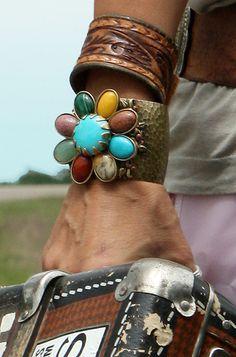 Junk Gypsy style - featuring Ollipop gemstone flower cuff bracelet