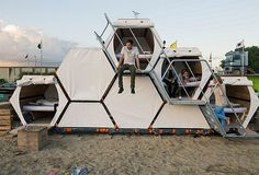 Designed by B-and-Bee, this stacked bedroom structure was recently used at Gentse Feesten in Belgium. The honeycomb system stands up to four pods high, housing 50 people on 100 square meters of land.
