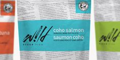 Seafood packaging that uses the fresh-fish-wrapped-in-newspaper feel that you get from real fresh fish markets.