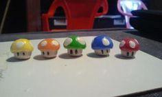 Mario Mushroom Charms  Handmade with Fimo Clay (and love)